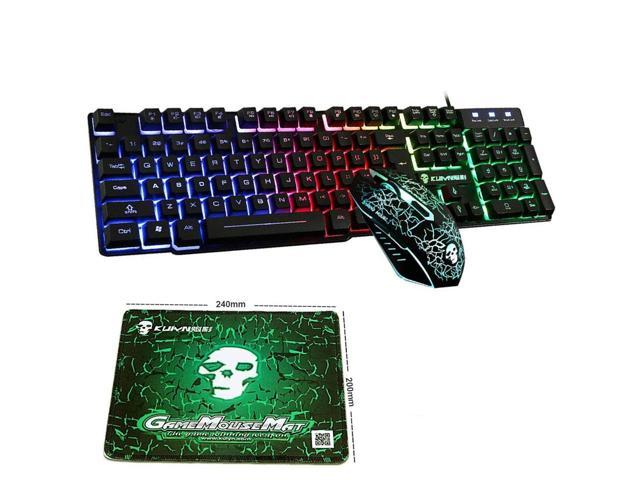 8c3a4af3725 Keyboard and mouse combo with mouse pad - Rainbow LED Backlit Mechanical  Feeling Gaming Keyboard and