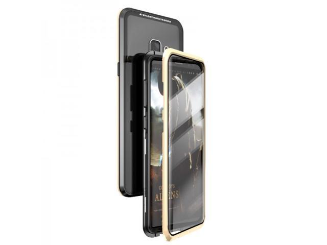 NEW Total Protective Full Cover Magnetic Adsorption Frame with Toughened Glass Cover Casing Phone Case For