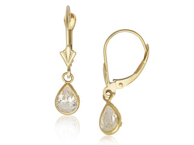 7c7a7f443aed4 14k Yellow Gold April Clear Cubic Zirconia Pear Drop Leverback Earrings -  Measures 25x6mm - Newegg.com