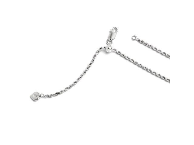 7b3ff38b447 2mm Sterling Silver Polished Sparkle-Cut Rhodium-plated Lobster Claw  Closure Adjustable Rope Chain