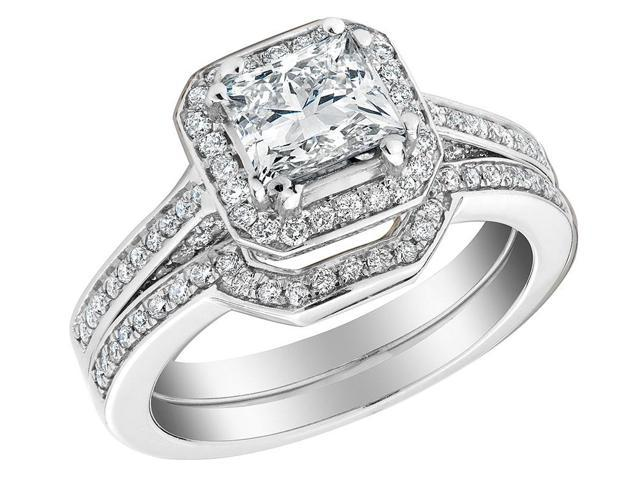 763ba4e8ff850f Princess Cut Diamond Engagement Ring and Wedding Band Set 1.6 Carat (ctw)  (1Ct