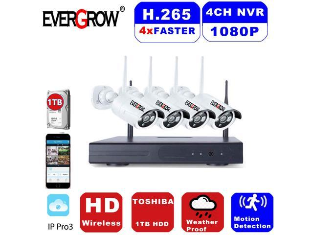 EVERGROW New wireless Home Security Camera System Surveillance 4CH CCTV NVR  kits w/ 1TB HDD - Newegg com