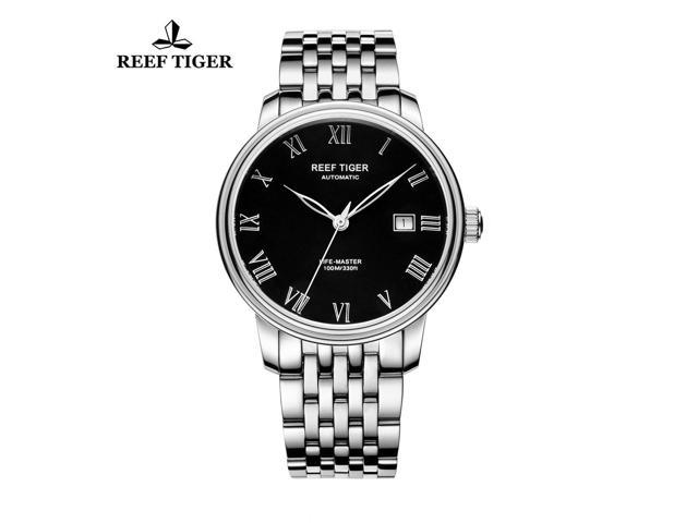 Reef Tiger Dress Watches For Men Steel Black Dial Automatic Watch