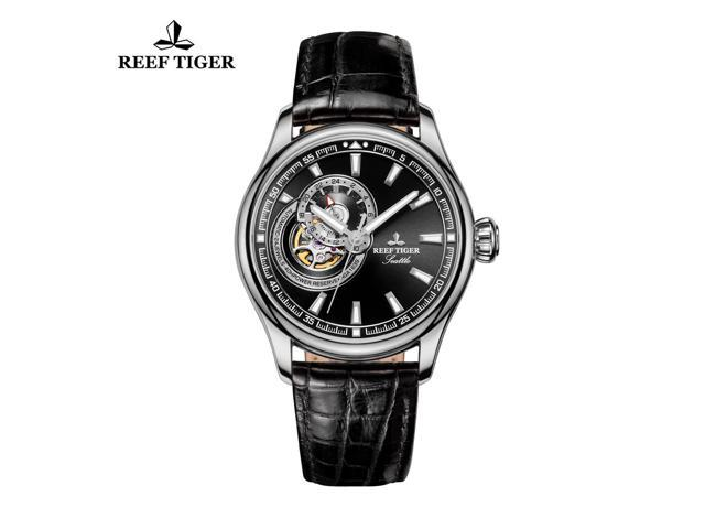Reef Tiger Skeleton Dress Watch For Men Black Dial Automatic Analog