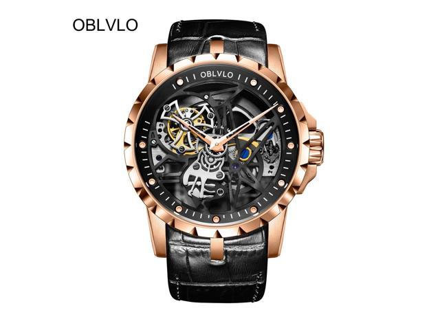 0340c0afa 2018 New OBLVLO Designer Skeleton Watch Mens Automatic Watches Brown Leather  Strap OBL3603