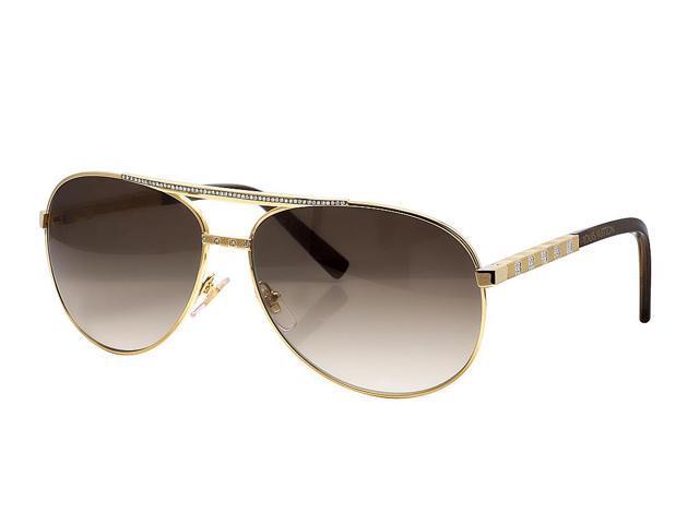 8b93e5dec677 Mens Custom Louis Vuitton Brown Shades Attitude Pilote Diamond Sunglasses  Z0339U 1.85CT