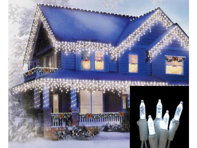 Vickerman 14222 70 Light 9 White Wire Cool White M5 Led Icicle Light Christmas Light String Set With 3 5 Spacing X6w3105