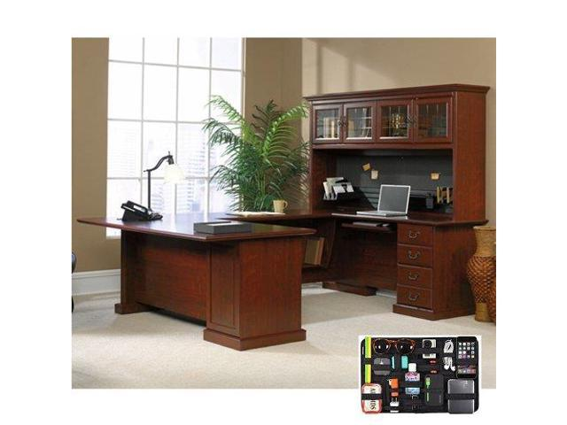 Heritage Hill Executive U Desk With Hutch And Grid It Organizer Classic Cherry