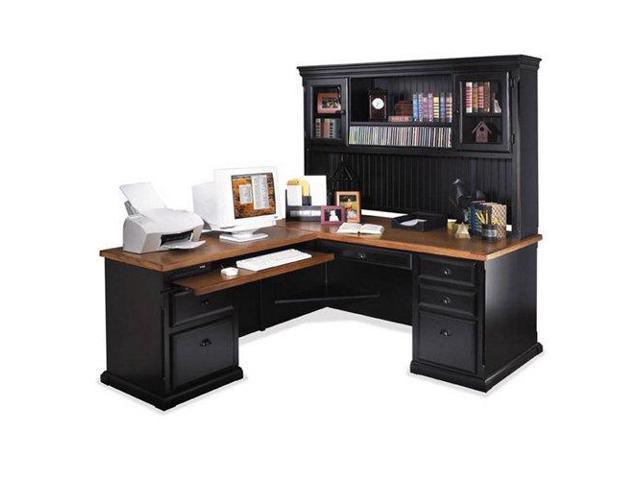 Southampton Onyx L Desk With Hutch Left Return Um Oak Top Black