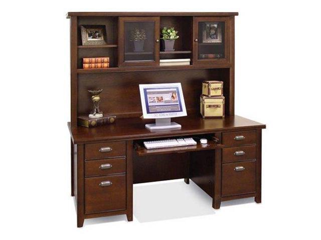 Tribeca Loft Cherry Executive Desk With Hutch Burnt Umber