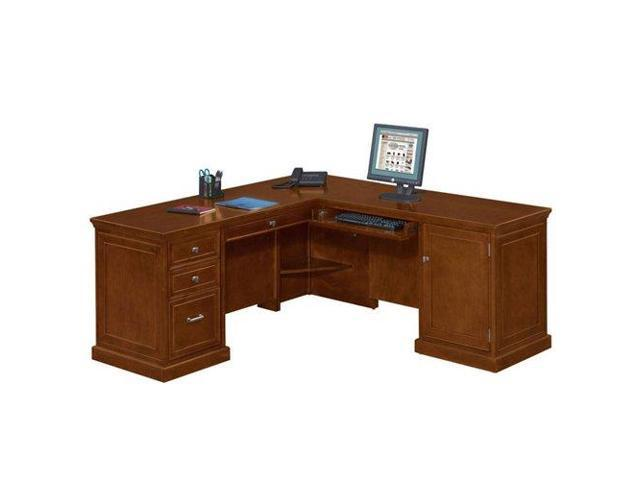 Compact L Shaped Desk With Right Return Light Chestnut Cherry