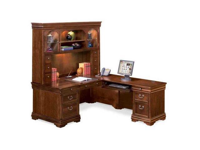 L Shaped Desk With Right Return And Hutch Deep Walnut