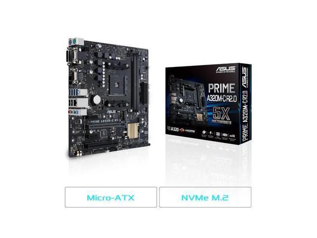 Asus MB Prime A320M-C R2 0 AMD Ryzen AM4 A320M 32GB DDR4 HDMI DVI USB3 0  mATX - Newegg ca