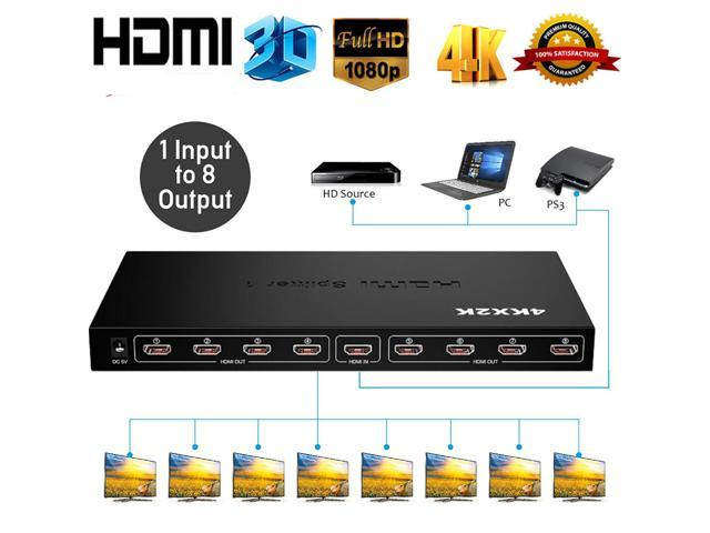 4K*2K HDMI V1.4 FULL HD TV 3D 8-Way 1x8 Digital Amplifier Distribution Splitter