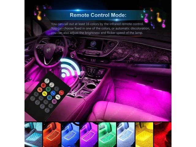 Estone Car Led Strip Light 4pcs 48 Multicolor Music Interior Lights Under Dash
