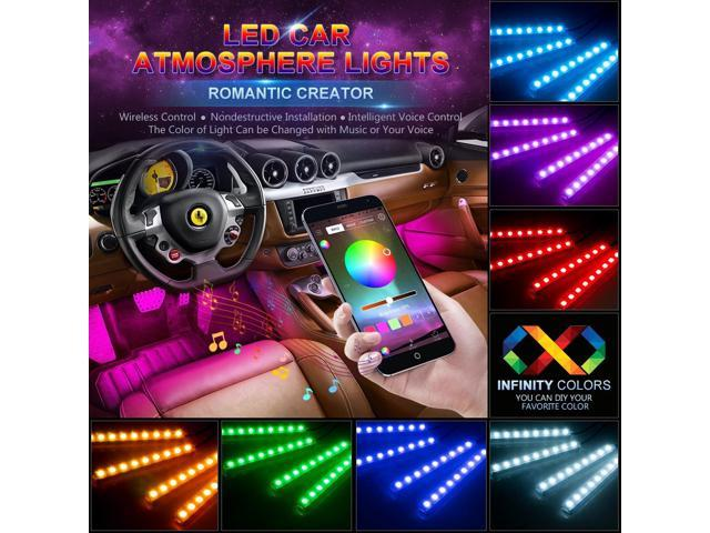 Estone Car Led Light Strip App Bluetooth Control 4pcs 48 Led Usb