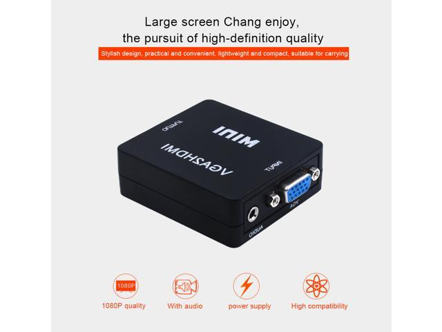 ESTONE VGA to HDMI Mini VGA to HDMI Converter with 1080P Audio Adapter  Connector for Notebook PC for HDTV for PC Laptop Display Computer Mac