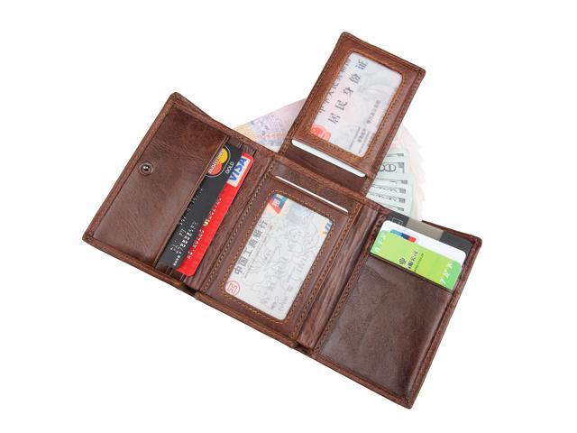 d64fd29014f9 Artmi Mens RFID Blocking Genuine Leather Trifold Wallet RFID Leather Card  Holder Compact Purse Extra Capacity Wallet With ID Windows - Newegg.com