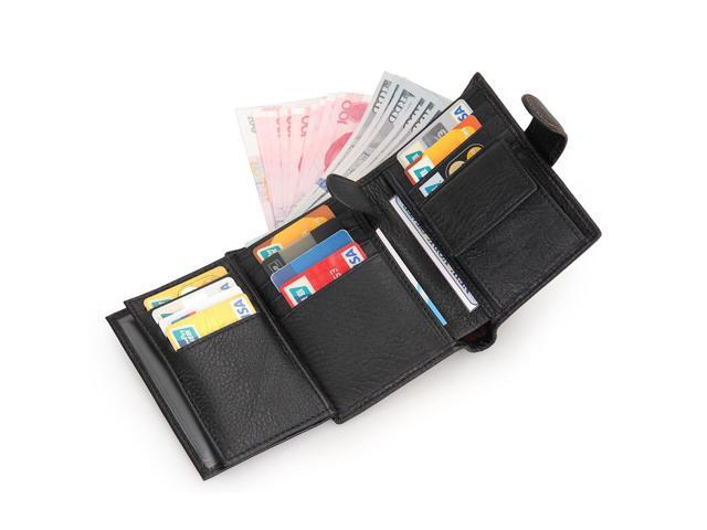 7e4e16b8ded2 Artmi Mens Leather RFID Blocking Travel Trifold Wallet with Double ID  Windows Passport Holder Great Card Holder with Multifunction Trifold Coin  Purse ...