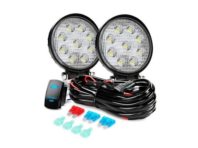 Nilight LED Light Bar 2PCS 27W Flood Led Off Road Lights 12V 5Pin Rocker on