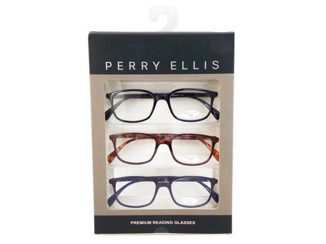 Perry Ellis Mens 3 Multi Pack Plastic Reading Glasses +1.5 Blk/Dem ...