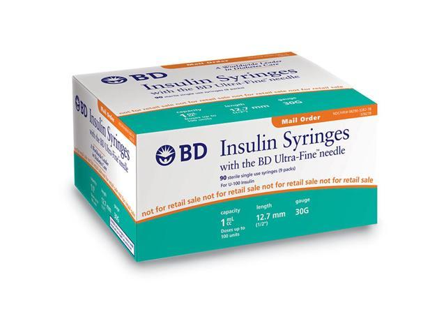 BD Becton Dickinson Ultra-Fine needle U-100 Insulin syringe 30G 1cc (1mL)  12 7mm (1/2in) (90pcs) - Newegg com