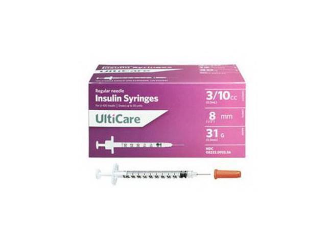 Ultimed UltiCare U-100 Short Needle Insulin Syringe 31G 3/10cc ( 3mL) 8mm  (5/16in) - Newegg com