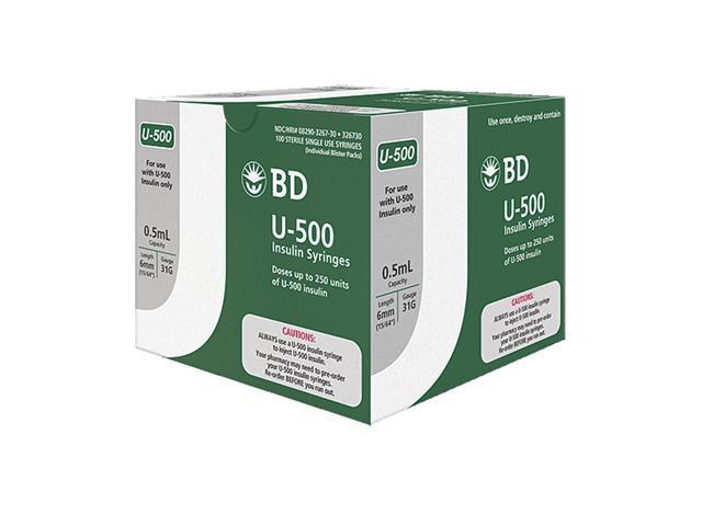BD Becton Dickinson Ultra-Fine needle U-500 Insulin syringe 31G 1/2cc  ( 5mL) 6mm (15/64in) (100pcs) - Newegg com