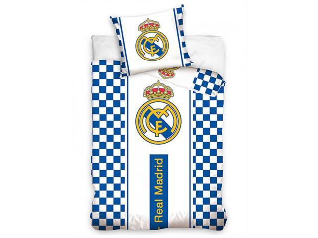 OFFICIAL REAL MADRID CF CREST CHECKED EUROPEAN DOUBLE DUVET COVER SET COTTON