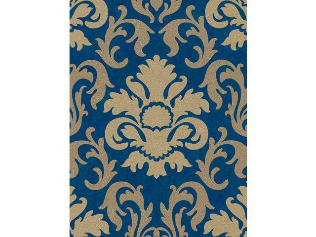 Carat Damask Glitter Wallpaper Gold And Blue Ps 13343 60 Neweggcom