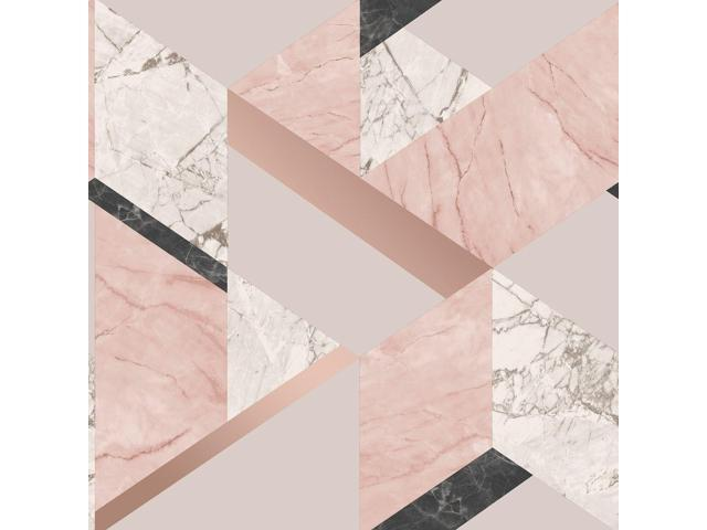 Fine Decor Marblesque Geometric Wallpaper Pink Rose Gold