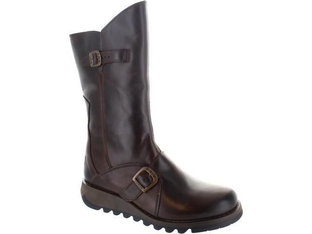 5b2638324c6 Fly London Mes 2 Warm Lined Women's Zip Up Mid Calf Leather Biker Boots New  - Newegg.com