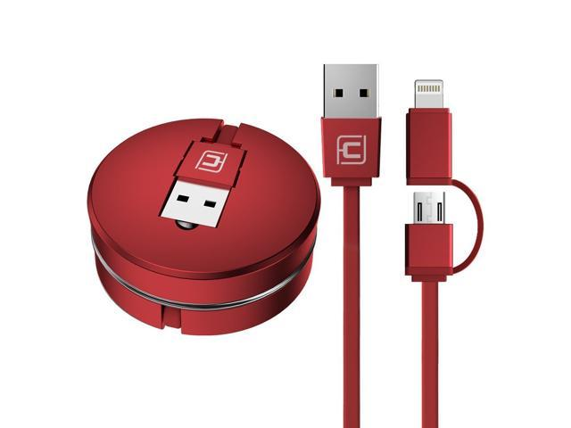 Retractable Lightning Cable, CAFELE 2 in 1 Lightning Micro USB Portable Flexible Charging Data Sync Cable for iPhone X 8 7 6s 6 Plus 5s 5 SE, Samsung S7 S6, Note, LG, Nexus, Huawei, HTC – Red