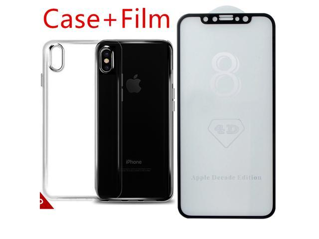iPhone X TPU Case and Screen Protector Glass [ 3D Full Frame ] Premium  Tempered 9H Hardness PET [Soft Edge Hybrid] Super Easy Apply for iPhone 10  work