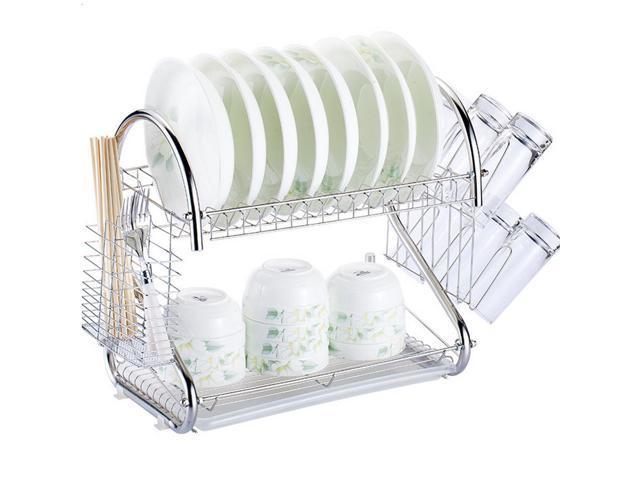 Kitchen Storage Dish Cup 2 Tier Dryer Drying Rack Holder Organizer