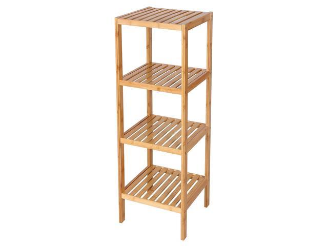 4 Tier Shelf Bamboo Corner Tower Rack Bathroom Storage Space Saver Bookcase