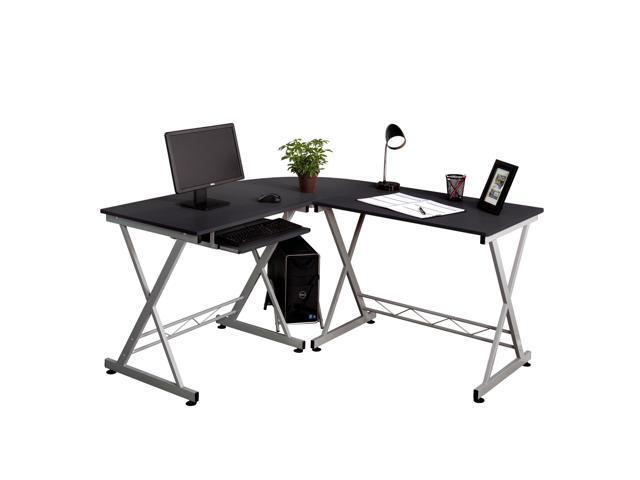 L Shaped Corner Computer Pc Desk Laptop Table Wood Workstation Home Office Black