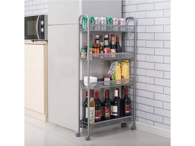 Rolling 4 Layer Shelf Slim Can Spice Rack Holder Cart Kitchen Bath Storage  Tower