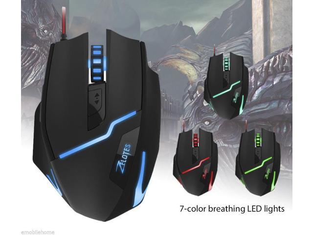 7fbdf97eb19 ZELOTES T10 7200DPI USB Wired Optical 7 Buttons Self-defining Gaming Mouse