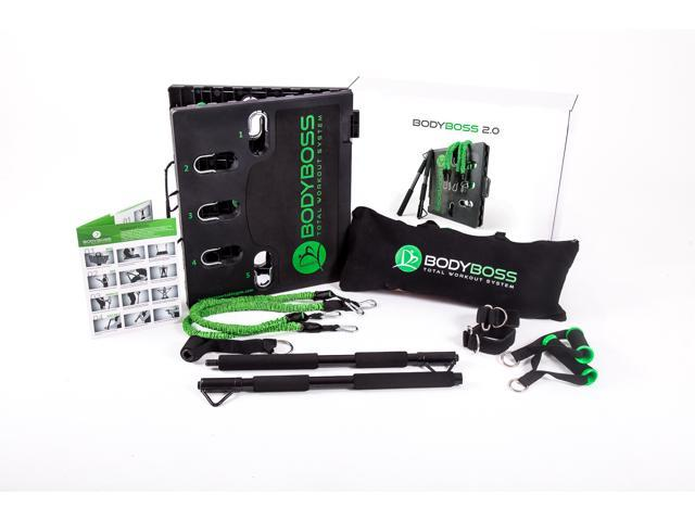BodyBoss Portable Gym 2.0 - The World's 1st Home Gym You Can Take Anywhere - Green, Full Bundle Package
