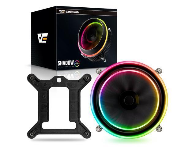 darkFlash Shadow PWM Aluminum CPU Cooler LED Addressable RGB Motherboard  Cooling Fan for Intel Core i7/i5/i3 - Newegg com