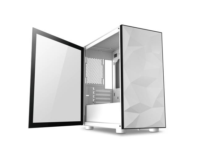 darkFlash DLM21 White Micro ATX Mini Tower MicroATX Computer Case with Door Opening Tempered Glass Side Panel