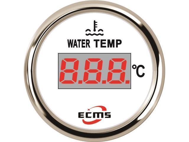 ECMS Marine Boat Car Truck Digital Water Temperature Gauge 287 4-22 4?  40-120? 52mm 316L Chrome Bezel White Dial 800-00131 - Newegg com