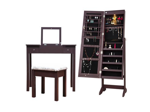 Cloud Mountain Mirrored Jewelry Armoire Jewelry Cabinet Free
