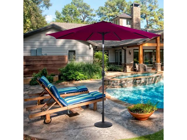 Cloud Mountain 9ft Patio Tilt Umbrella Canopy Beach Outdoor Garden Umbrellas Push On W