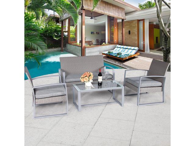 Cloud Mountain 4 PC Wicker Furniture Set Cushioned Outdoor Conversation  Wicker Love Seat Patio Steel Rattan