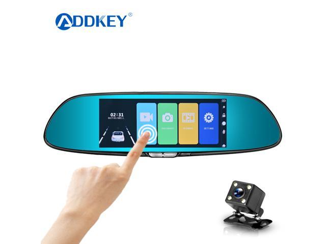 "ADDKEY 7"" Touch Screen Car DVR Rear View Mirror Dash Cam Dual Lens Car Auto"