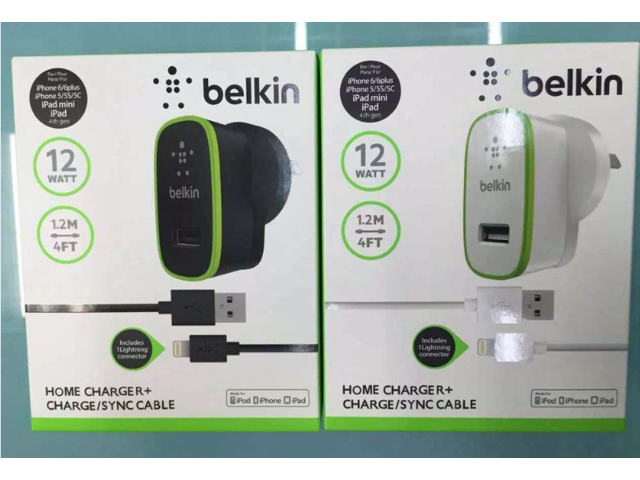 0f115e8c203 BELKIN Car & Home Charger + Lightning USB Sync Cable fo iPod iPhone iPad
