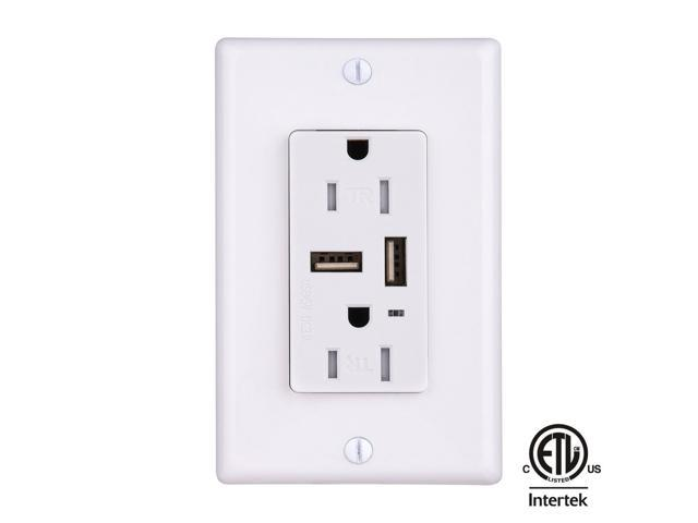 Faith Usb Charger Wall Outlet Usb Wall Receptacle 3 1a Smart Fast