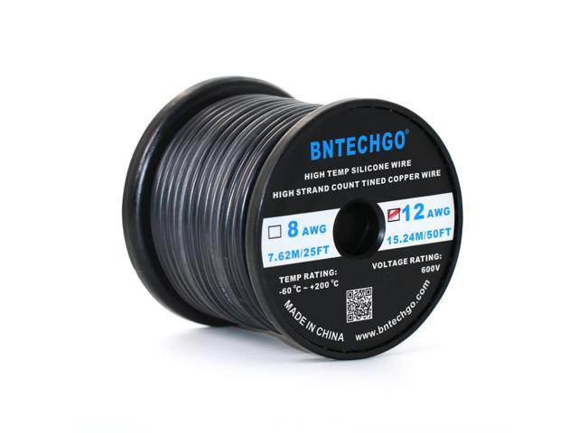 BNTECHGO® 12 Gauge Silicone Wire 50 Feet Black Spool Soft and ...